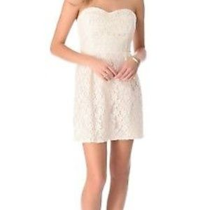 🌷2x HP🌷Free People ivory lace strapless dress